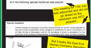 Extracts from the letter East End Homes Company Secretary Peter Gibbs sent to Companies House.