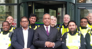 Mayor Rahman (right) with Cllr Ohid Ahmed (left) congratulate a group of THEOs.