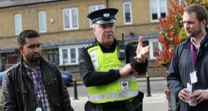 Council officers, police and residents on the Bow East walkabout