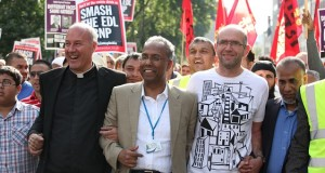 Glyn Robins (right) with Mayor Lutfur Rahman and the Rev. Alan Green - out demonstrating against the EDL.