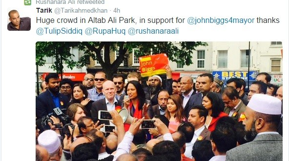 Local MP Rushanara Ali tweets about party political meeting held in Council park