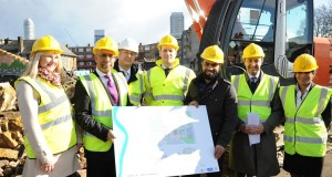 Mayor Rahman (second from left) joins officials as work begins on Blackwall Reach.