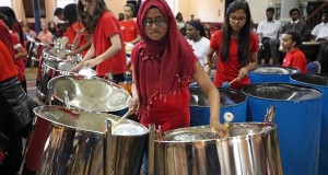 Sir John Cass pupils play the steel drums at the Hackney Round Chapel