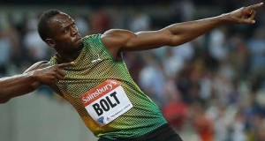 Usain Bolt points the way to the Sainsbury's Anniversary Games. Photo: Action Images / Paul Childs Livepic