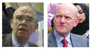 Labour's John Biggs (right) was keen to secure support from Tory Councillors, led by Cllr Peter Golds (left)