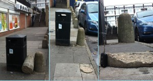 The broken bollard nestles next to the bin; the bollard top is gone - but the footing remains, with access from three sides; close up of the trip hazard footing, which the contractor did not see but is now gone.