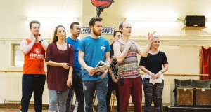 The Cast in rehearsals for Elf The Musical. Photo: Becky Lee