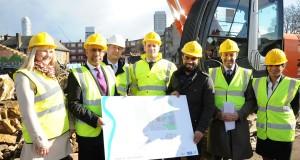Mayot Lutfur Rahman (second from left) is present as bulldozers begin work on transforming Blackwall Reach.