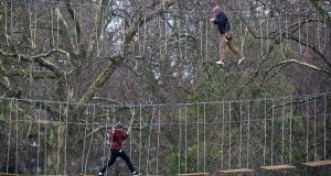 Go Ape welcomes the first visitors to the brand new adventure course at Battersea Park. Photo: Geoff Caddick/PA Wire