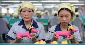 Chinese workers show what they think of a life spent making little plastic things.