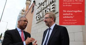 Mayor Lutfur Rahman takes Len McCluskey, General Secretary of Unite, Britain's largest trade union, to visit the East London Mosque in 2013.