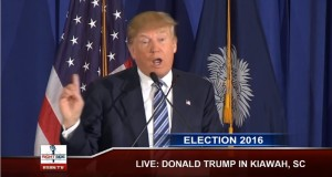 Trump broadcasting to the nation in response to the Pope's comments.
