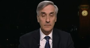 "John Redwood MP charges his batteries before someone hits the ""on"" switch and the interview begins."
