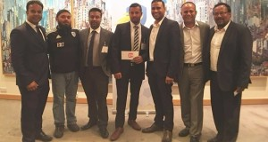 Tournament organisers Zak Khan (right), Mujib Islam (left), Kam Ali, MD of Apex Accountants and team manager Shahinul Khan with the LB24 Celtic team