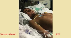 Nasar Ahmed, seen here fighting for his life, sadly died shortly after being admitted to hospital.