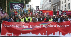 Fighting Islamophobia in practice: Mayor Lutfur Rahman leads a united opposition to the English Defence League, 2013.
