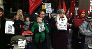 Parents and campaigners lobby last month's Cabinet meeting.