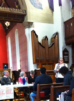 Cllr Rachael Saunders (standing, right) also spoke to the meeting.