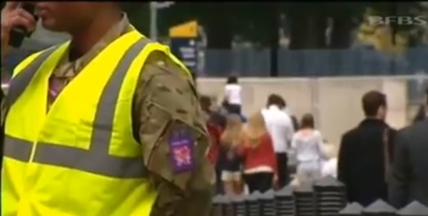 Soldiers take a security role on UK streets...