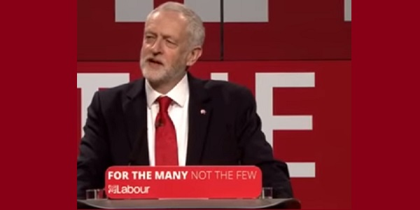 """Jeremy Corbyn launches the Labour manifesto - """"for the many, not the few""""."""