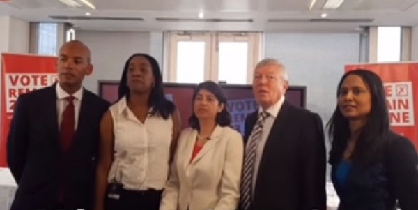 "Chuka Umunna (left) and Rushanara Ali (right) bookend a line of MPs at a pre-referendum ""remain"" event."