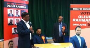 Cllr Ohid Ahmed (left) praises Clr Oliur Rahman (seated) as an experienced local politician.
