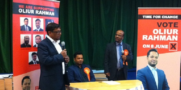 Cllr Ohid Ahmed (left) praises Clr Oliur Rahman (seated) as an experienced local politician.