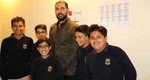 Yuvraj meets young visitors.