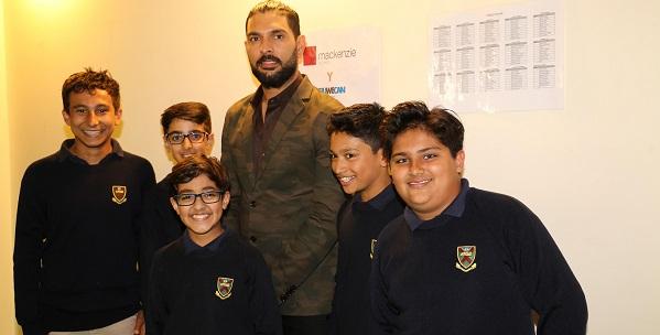Yuvraj meets young visitors.