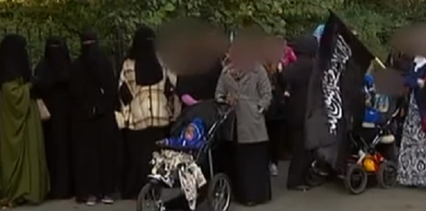 Women gather in Norway to hold a small protest against the proposed banning of the niqab.