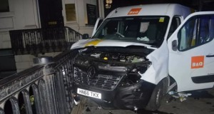 Van used by the London Bridge terrorists, after they crashed into the railings