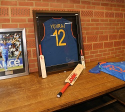 Cricket memorabilia was on display.