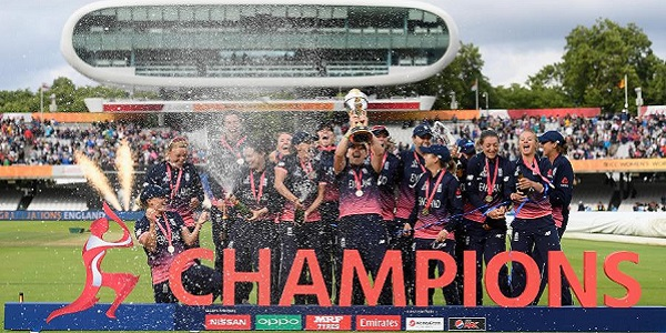 England women celebrate winning the World Cup.