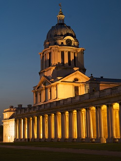 The Old Royal Naval College Chapel dome at night