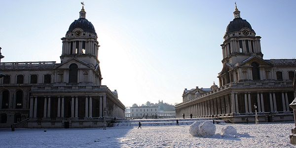 The Old Royal Naval College and grand square in winter snow