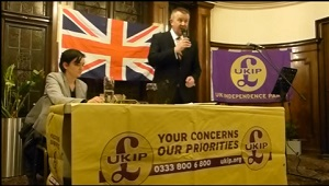 Peter Harris, Chair of the Barking & Dagenham Branch of UKIP, introduces Anne Marie Waters, speaking to the Branch in March.
