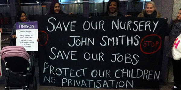 Tower Hamlets parents demonstrate outside the Town Hall, calling on Mayor John Biggs to keep Council Day Nurseries open.
