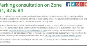 Screenshot of the Council's website announcement about the parking consultation