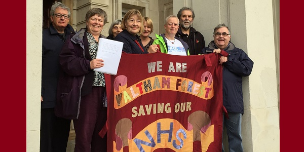 Campaigners who opposed Barts entering a PFI deal present a petition to the Board (November 2015).