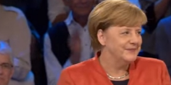 Angela Merkel at a TV debate during the recent election campaign.