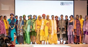 The iconic former super model, Bibi Russell, pictured in the centre with her collection at BFWL16.