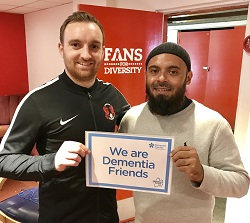 Club captain Charlie Lee with Dementia Friends Champion Emdad Rahman
