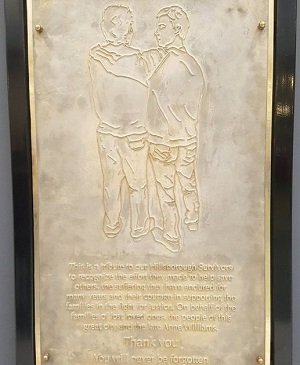 The memorial plaque, which can now be seen at Liverpool station.