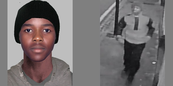 Efit (left) and CCTV still (right) of the man police wish to speak to.