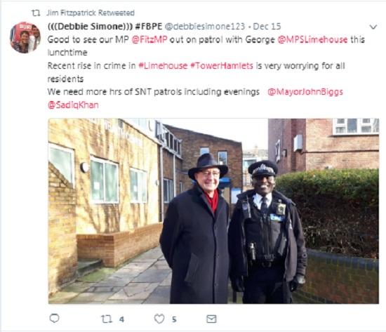 Jim Fitzpatrick re-tweets comment from former colleague Debbie Simone.