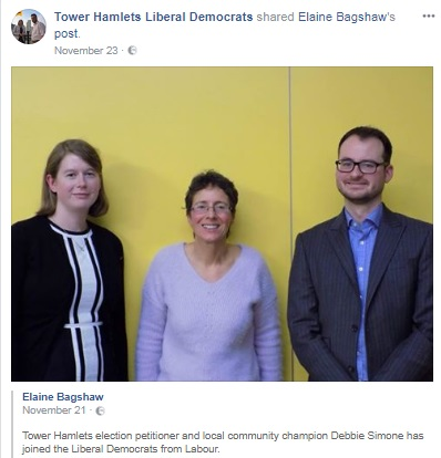 Local Lib Dem politician Elaine Bagshaw (left) and former Labour defector Andrew Creegan (right) welcome Debbie Simone to the Lib Dems.