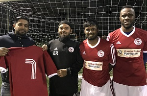 New boys Harun Rashid, Jamal Rahman and Shane Baptiste with Emdad Rahman