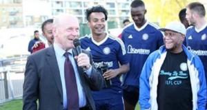Mayor John Biggs enjoys the Mayor's Football Cup, which he has taken over from Mayor Lutfur Rahman.