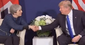 Theresa May forgets her domestic troubles as she basks for a few moments in the glow emanating from Donald Trump.