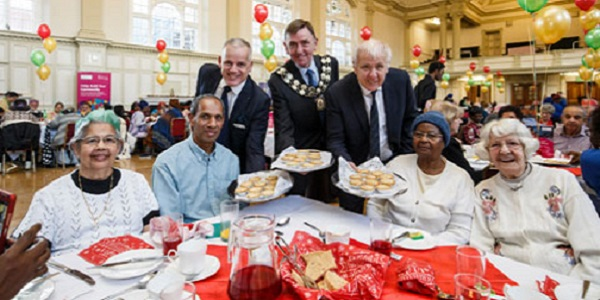 Newham Mayor Sir Robin Wales (centre) and Deputy Mayor Ken Clark (right).